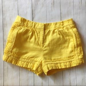 J. Crew Yellow Linen Lace Trim Shorts